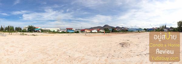 ถ่าย panorama มองไปทางบ้านชาวบ้านแถวนั้นครับที่อยู่ในซอยหัวหิน 112 ครับ