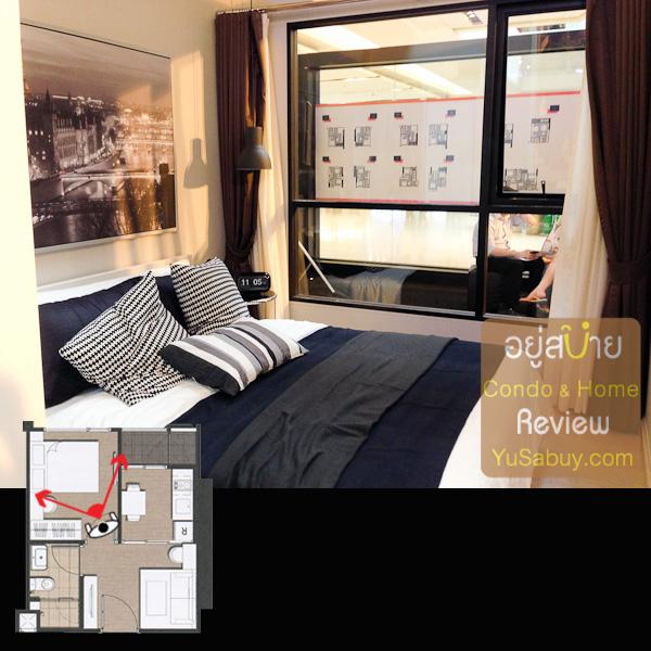 มุมมองในห้องนอน ระดับของกระจกจะเสมอกับระดับเตียงครับ เวลานอนจะมองเห็นวิวในระดับสายตาได้