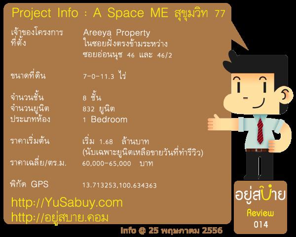 ข้อมูลโครงการ A Space ME สุขุมวิท 77