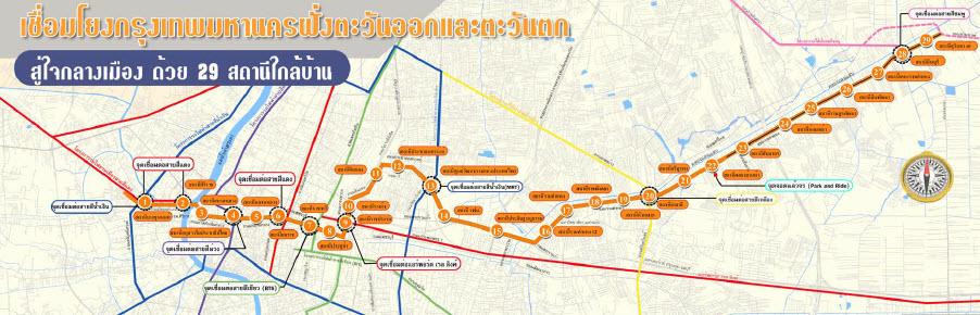 แนวทางการเดินรถ รถไฟฟ้าสายสีส้ม ตลิ่งชัน-มีนบุรี