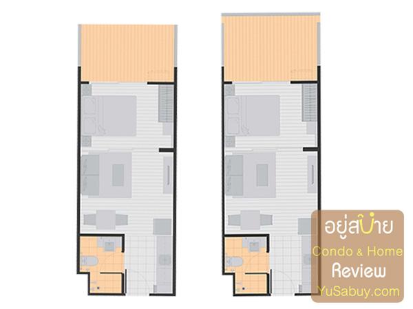 แปลนคอนโด A Space ME สุขุมวิท 77 แบบ 1 ห้องนอน 34.5 และ 35.24 ตร.ม