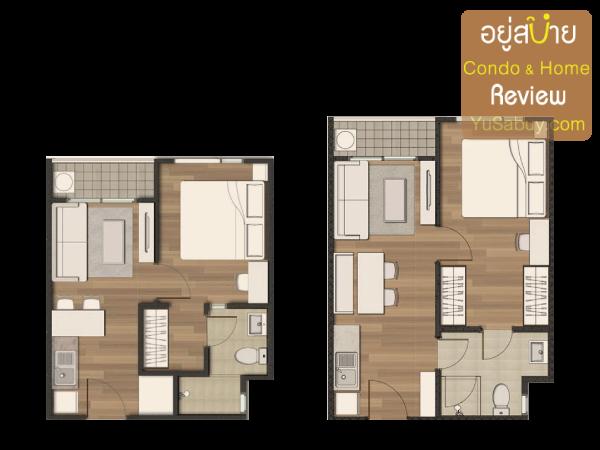 แปลนคอนโด The Privacy Condo แบบ 1 ห้องนอน ขนาด 28 และ 33 ตารางเมตร
