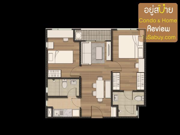 แปลนคอนโด The Privacy Condo แบบ 2 ห้องนอน ขนาด 50 ตารางเมตร