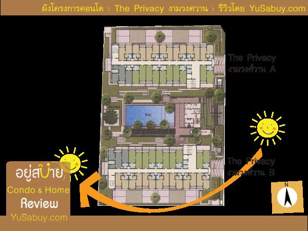 ตำแหน่งทิศทางการวางตัวอาคารคอนโด The Privacy งามวงศ์วาน