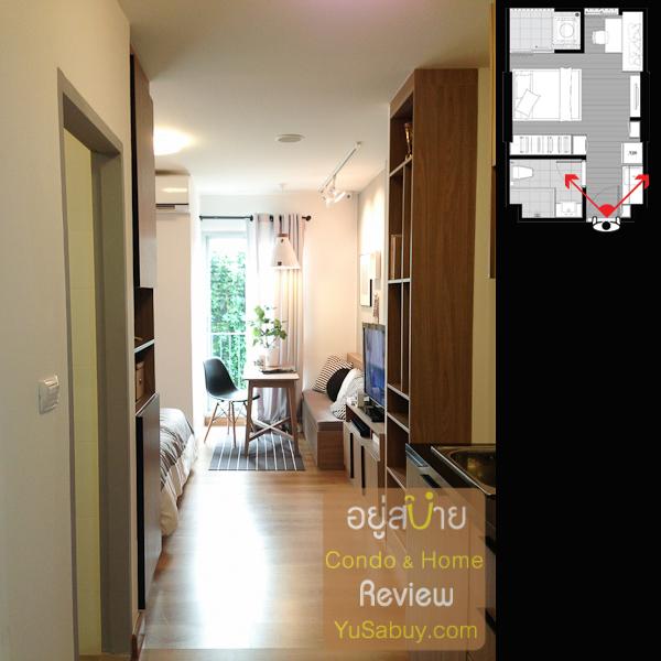 เปิดประตูเข้ามาในห้องเลยครับ จะเจอช่องทางเดิน ด้านนึงเป็นห้องน้ำ อีกด้านเป็นเคาท์เตอร์ pantry ครัว