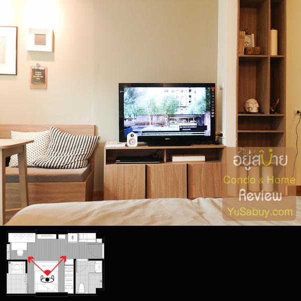 ถ้านอนดูทีวีบนเตียงจะเห็นมุมประมาณนี้ครับ