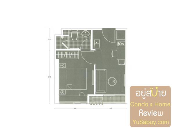 แปลนคอนโด Noble Revolve Ratchada (โนเบิล รีวอลฟ์ รัชดา) แบบ 1 ห้องนอน A11