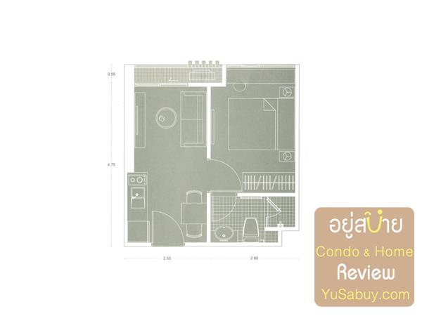 แปลนคอนโด Noble Revolve Ratchada (โนเบิล รีวอลฟ์ รัชดา) แบบ 1 ห้องนอน A22