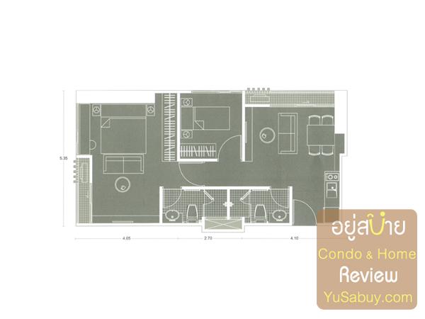 แปลนคอนโด Noble Revolve Ratchada (โนเบิล รีวอลฟ์ รัชดา) แบบ 2 ห้องนอน B7