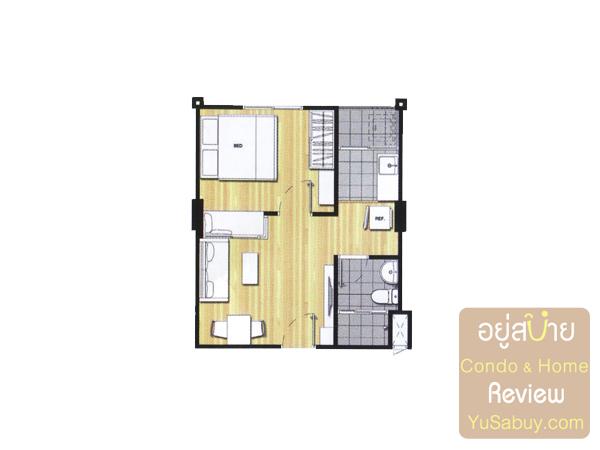 แปลนคอนโดยู วิภา-ลาดพร้าว แบบ 1 ห้องนอน ขนาด 30-31 ตารางเมตร