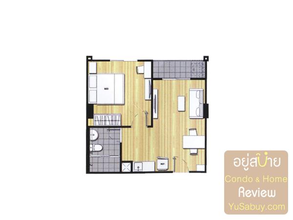 แปลนคอนโดยู วิภา-ลาดพร้าว แบบ 1 ห้องนอน ขนาด 38 ตารางเมตร