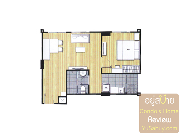 แปลนคอนโดยู วิภา-ลาดพร้าว แบบ 1 ห้องนอน ขนาด 44 ตารางเมตร
