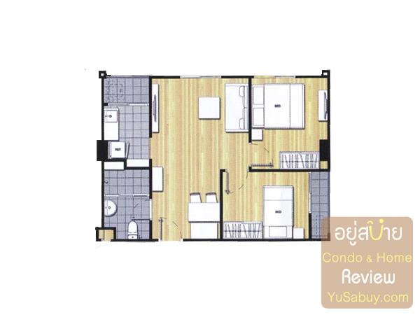แปลนคอนโดยู วิภา-ลาดพร้าว แบบ 2 ห้องนอน ขนาด 50 ตารางเมตร