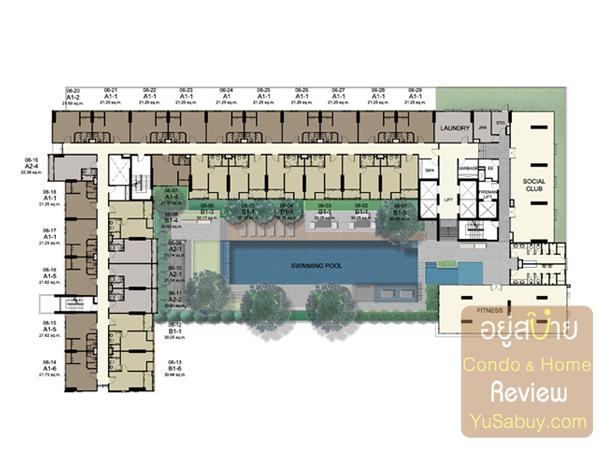 แปลนชั้น 6 เป็นชั้น Facilities ครับ มีสระว่าบน้ำ, ฟิตเนส, Social Club ห้องพักจะเริ่มที่ชั้นนี้