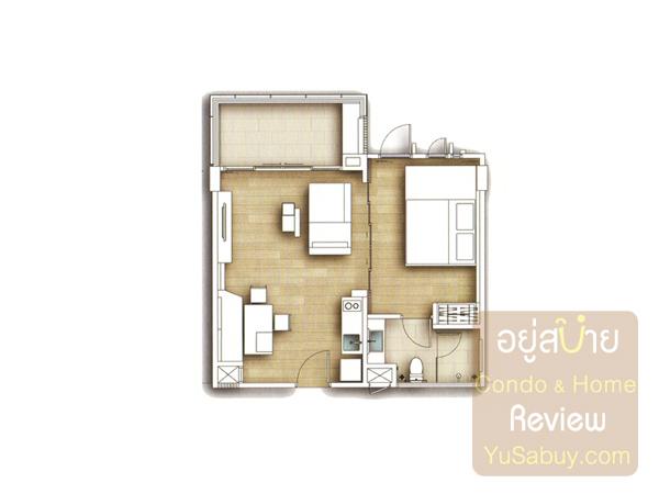 แปลนห้องแบบ 1 ห้องนอน คอนโด Wan Vayla วันเวลาเขาเต่า