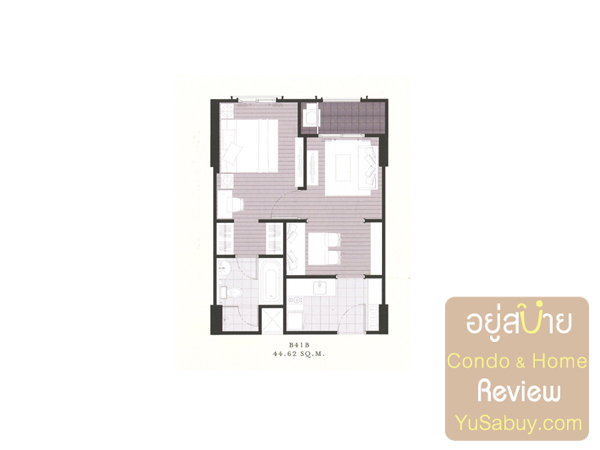 แปลนคอนโด The Reserve เกษมสันต์3 แบบ 1 ห้องนอน 44.62 ตารางเมตร