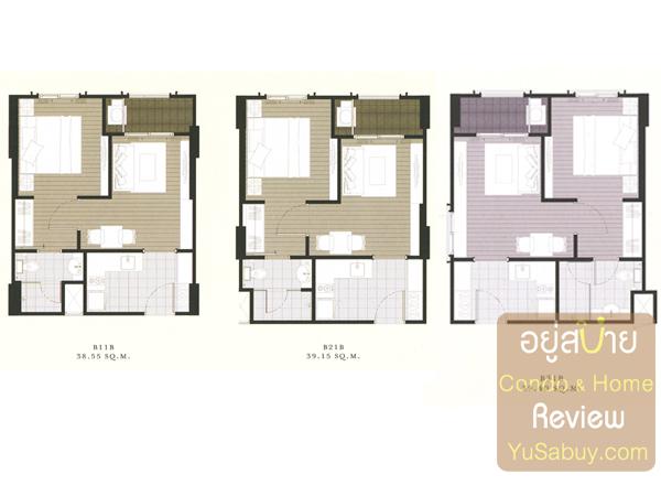 แปลนคอนโด The Reserve เกษมสันต์3 แบบ 1 ห้องนอน 39 ตารางเมตร