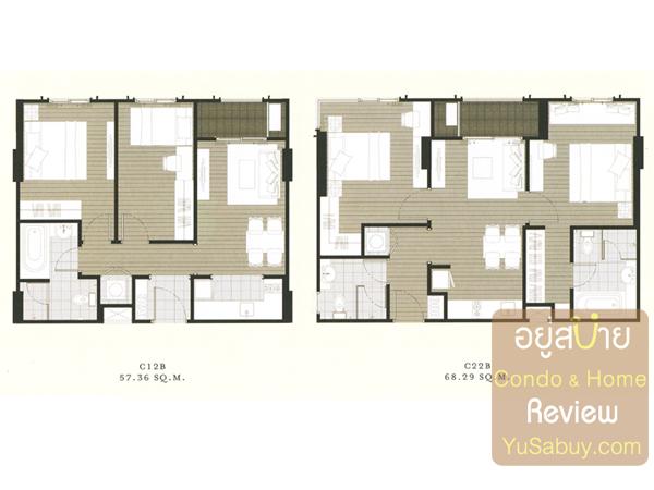 แปลนคอนโด The Reserve เกษมสันต์3 แบบ 2 ห้องนอน 57-68 ตารางเมตร