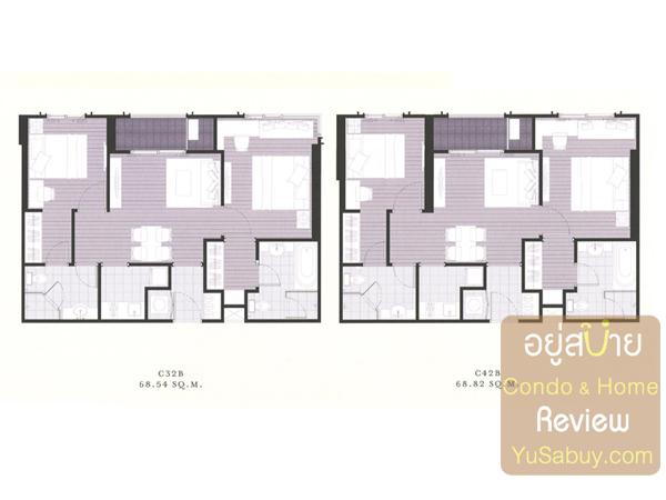 แปลนคอนโด The Reserve เกษมสันต์3 แบบ 2 ห้องนอน 68 ตารางเมตร