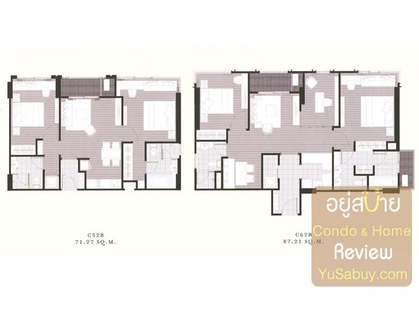 แปลนคอนโด The Reserve เกษมสันต์3 แบบ 2 ห้องนอน 71-87 ตารางเมตร