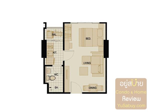 แปลนคอนโด The Tree Bangpo Station (เดอะทรี บางโพ สเตชั่น) แบบ 1 ห้องนอน 29.50 ตารางเมตร