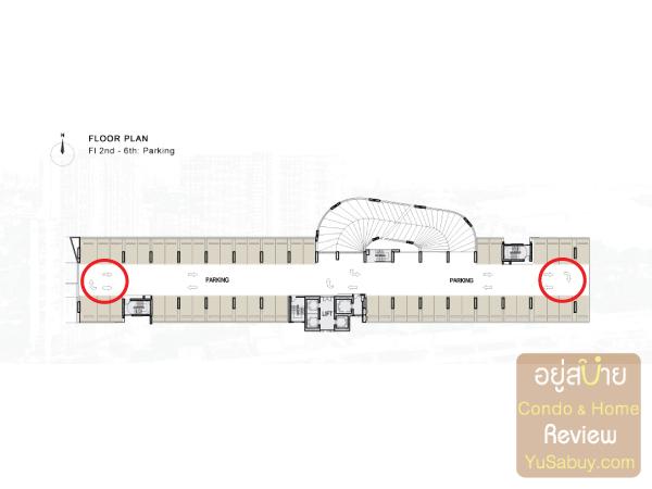 แปลนชั้นจอดรถ (ชั้น 2-6) คอนโด The Tree Bangpo Station (เดอะทรี บางโพ สเตชั่น)