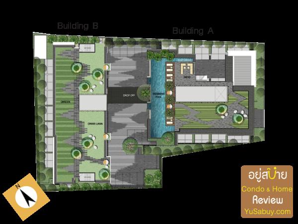 แปลนดาดฟ้า(Facilities Floor) จากบริเวณทางเข้าฟิตเนสที่ชั้น 8 ตึก A เดินขึ้นบันไดกลางแจ้งมา จะขึ้นมาบนดาดฟ้าได้ มีสระว่ายน้ำแล้วก็สวนครับ ส่วนฝั่งตึก B จะมีแต่สวนอย่างเดียว