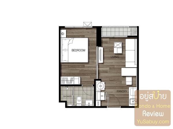 แปลนแบบ 1 ห้องนอน Type A ขนาด 32.8 ตารางเมตร คอนโด The Key BTS วุฒากาศ