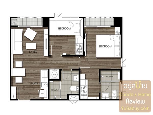 แปลนแบบ 2 ห้องนอน Type F ขนาด 56.7 ตารางเมตร คอนโด The Key BTS วุฒากาศ