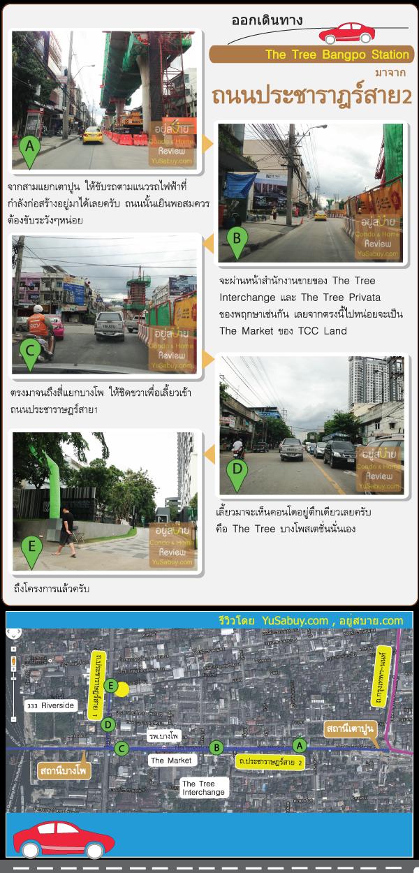 การเดินทางไปคอนโด The Tree Bangpo Station (เดอะทรี บางโพ สเตชั่น)