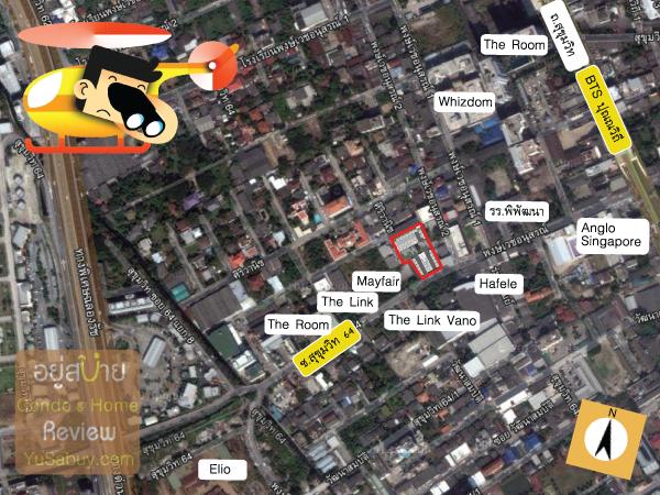 แผนที่และตำแหน่งที่ตั้งคอนโด Sari by Sansiri (ซาริ บาย แสนสิริ)