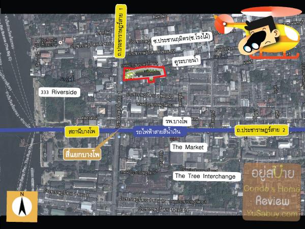 แผนที่และตำแหน่งที่ตั้งคอนโด The Tree Bangpo Station (เดอะทรี บางโพ สเตชั่น)