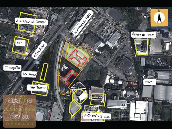 ระยะของอาคารข้างเคียงในบริเวณตัวโครงการคอนโด Noble Revolve Ratchada2 (โนเบิล รีวอลฟ์ รัชดา2)