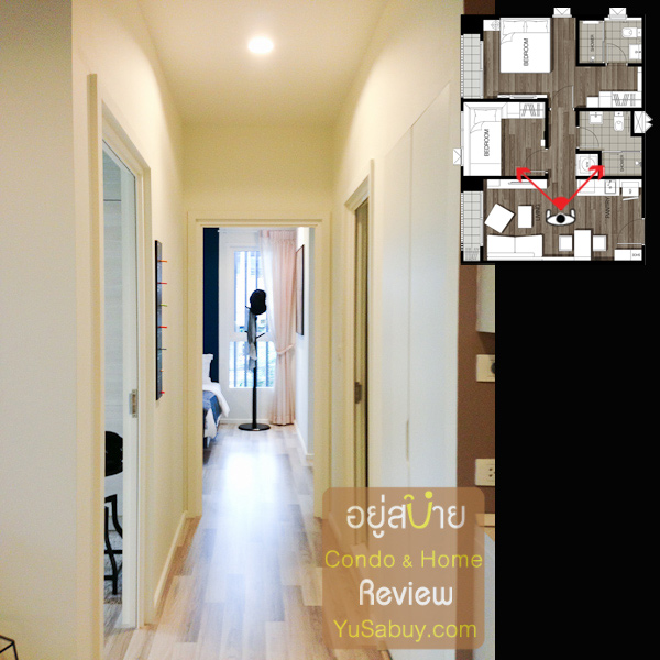 ทางเดินไปยังห้องนอน ทางซ้ายคือประตูเข้าห้องนอนเล็ก สุดทางคือประตูเข้าห้องนอนใหญ่