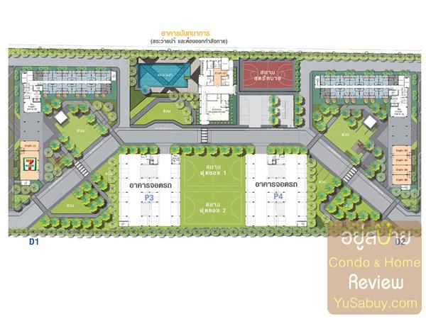 ผังโซน D (Facilities ส่วนกลาง) โครงการ Lumpini Township (ลุมพินี ทาวน์ชิป)