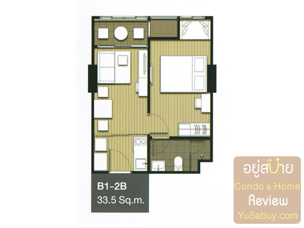 แปลนคอนโด Ideo Mobi จรัญ-อินเตอร์เชนจ์ แบบ 1 ห้องนอน 33.5 ตารางเมตร
