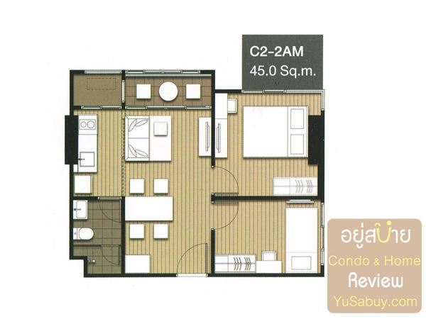 แปลนคอนโด Ideo Mobi จรัญ-อินเตอร์เชนจ์ แบบ 2 ห้องนอน 45 ตารางเมตร