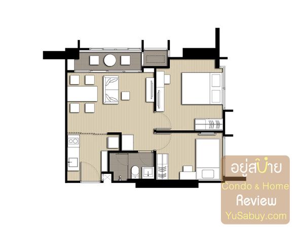 แปลนคอนโด Ideo Q Ratchathewi ไอดีโอ คิว ราชเทวี แบบ 2 ห้องนอน 48.90 ตารางเมตร