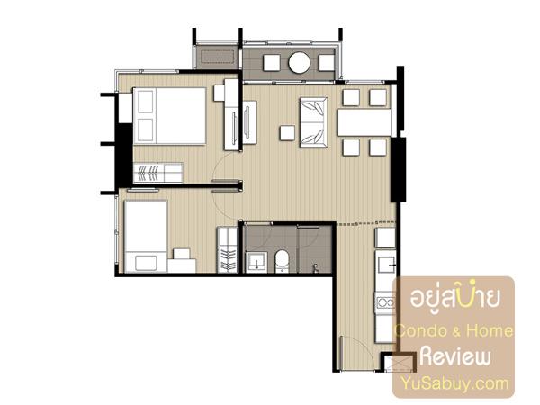 แปลนคอนโด Ideo Q Ratchathewi ไอดีโอ คิว ราชเทวี แบบ 2 ห้องนอน 50.50 ตารางเมตร