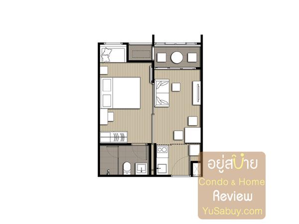 แปลนคอนโด Ideo Q Ratchathewi (ไอดีโอ คิว ราชเทวี) แบบ 1 ห้องนอน 34 ตารางเมตร