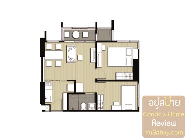 แปลนคอนโด Ideo Q Ratchathewi (ไอดีโอ คิว ราชเทวี) แบบ 2 ห้องนอน 47.10 ตารางเมตร