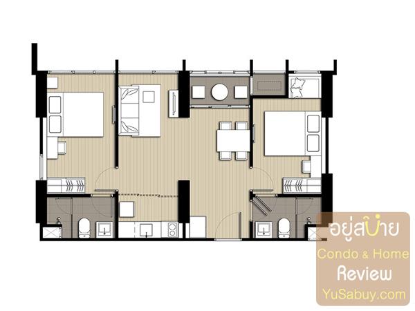 แปลนคอนโด Ideo Q Ratchathewi (ไอดีโอ คิว ราชเทวี) แบบ 2 ห้องนอน 60.00 ตารางเมตร