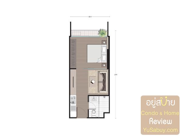 แปลนคอนโด Noble Revo Silom แบบ 1 ห้องนอน ขนาด 33.72 ตารางเมตร