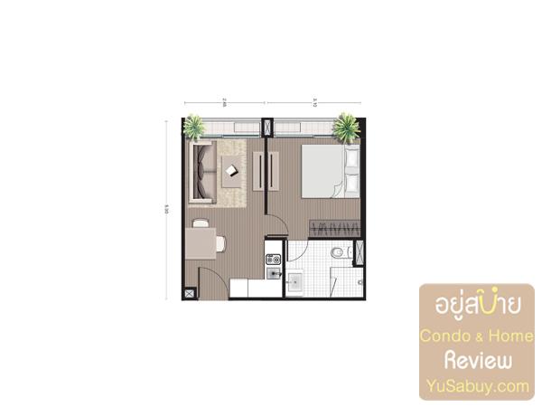 แปลนคอนโด Noble Revo Silom แบบ 1 ห้องนอน ขนาด 34.11 ตารางเมตร