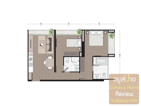 แปลนคอนโด Noble Revo Silom แบบ 2 ห้องนอน ขนาด 65.80 ตารางเมตร