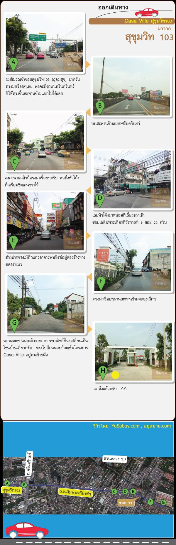 การเดินทางไปโครงการบ้านเดี่ยว Casa Ville Sukhumvit103 (คาซ่า วิลล์ สุขุมวิท103)