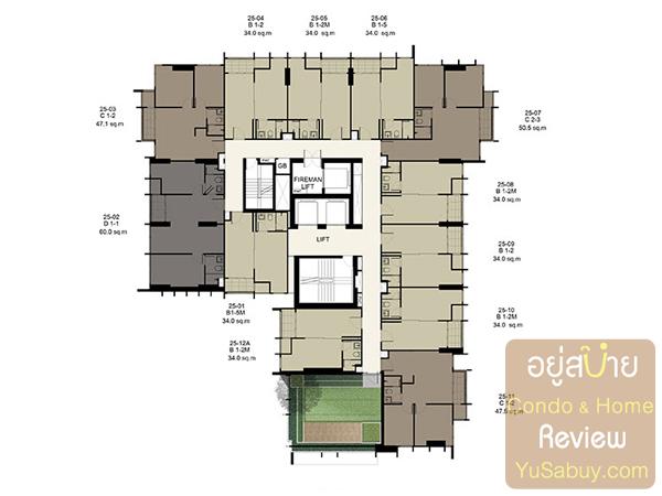 Floor Plan คอนโด Ideo Q ราชเทวี ชั้น 25