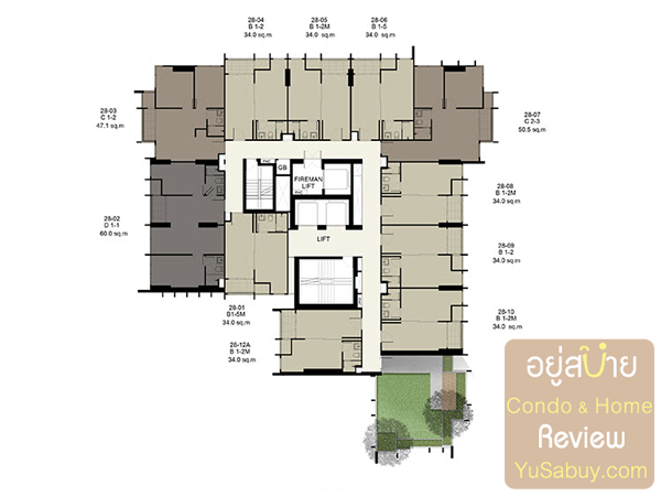 Floor Plan คอนโด Ideo Q ราชเทวี ชั้น 28