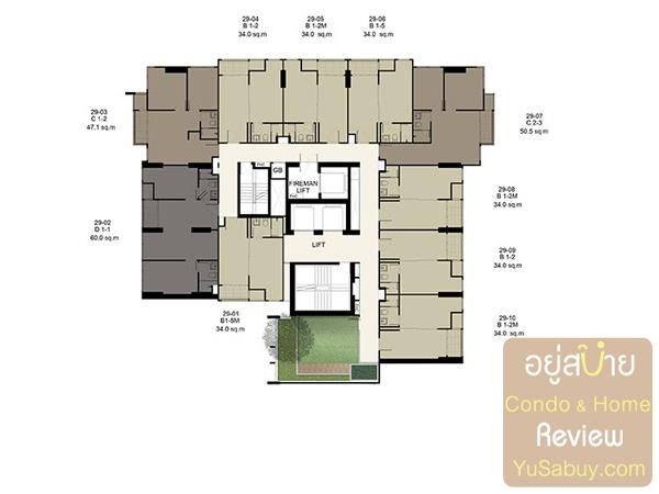 Floor Plan คอนโด Ideo Q ราชเทวี ชั้น 29