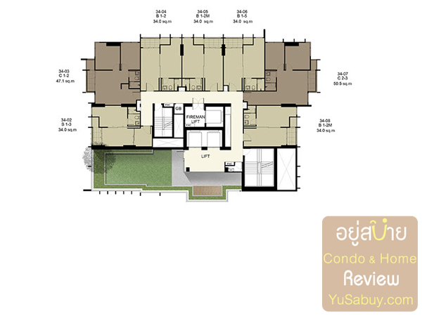 Floor Plan คอนโด Ideo Q ราชเทวี ชั้น 34